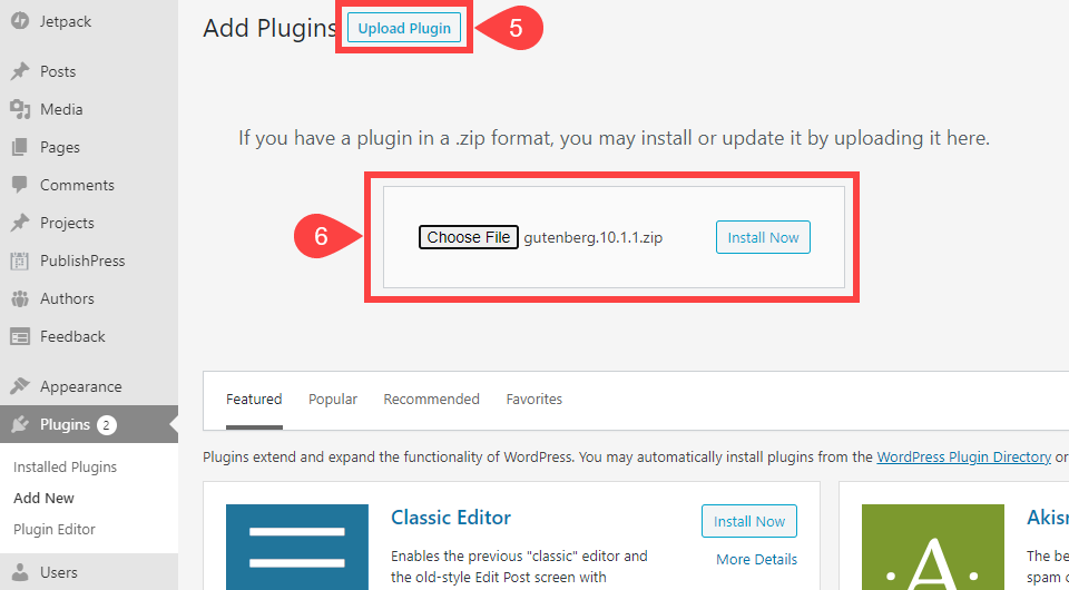 how to install a wordpress plugin via upload