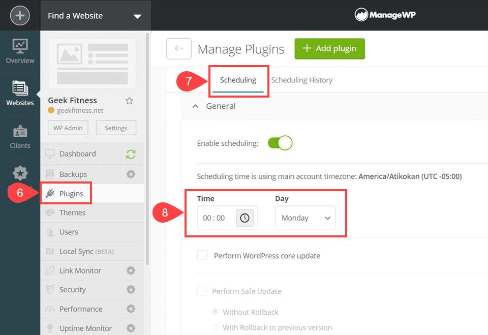 managewp scheduling plugin updates