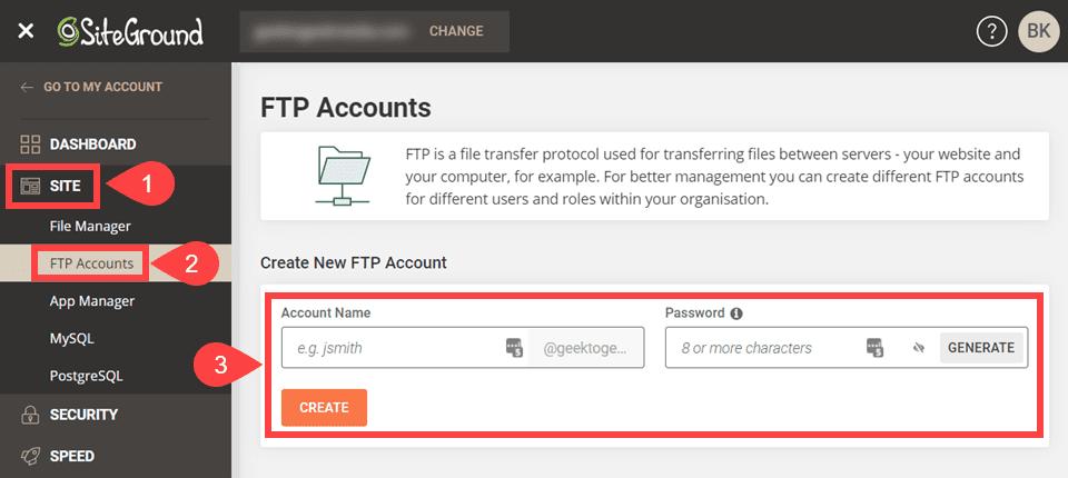 ftp credentials