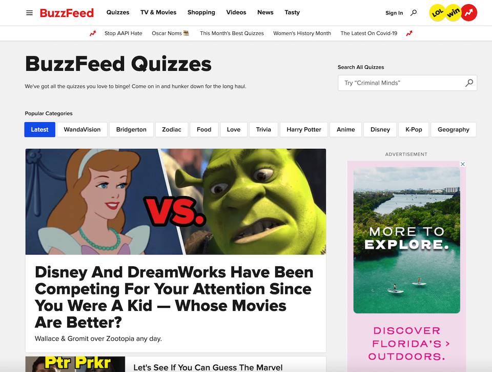 The BuzzFeed quizzes page.
