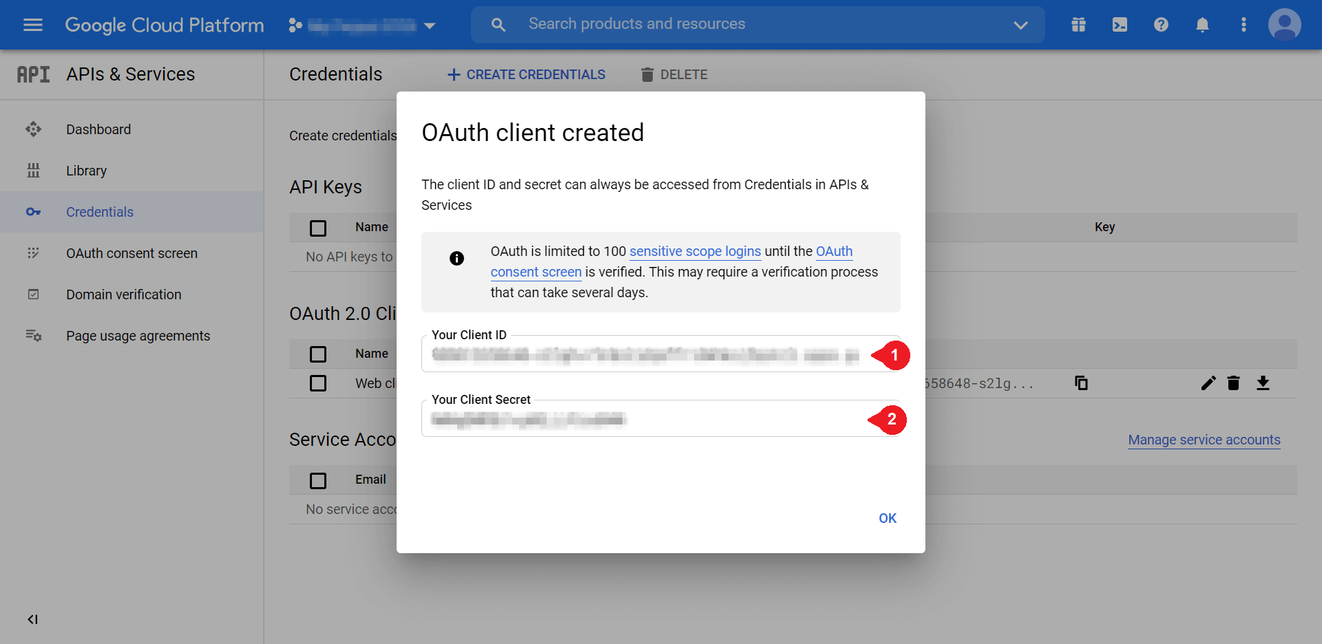 Adding the Client ID and Client Secret info in Google Console.