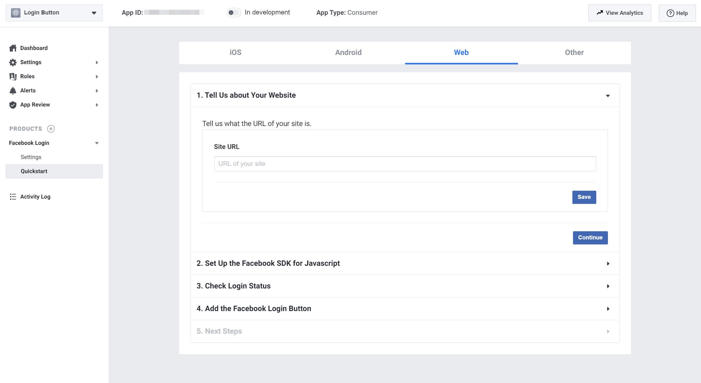 The wizard for creating your Facebook login button.