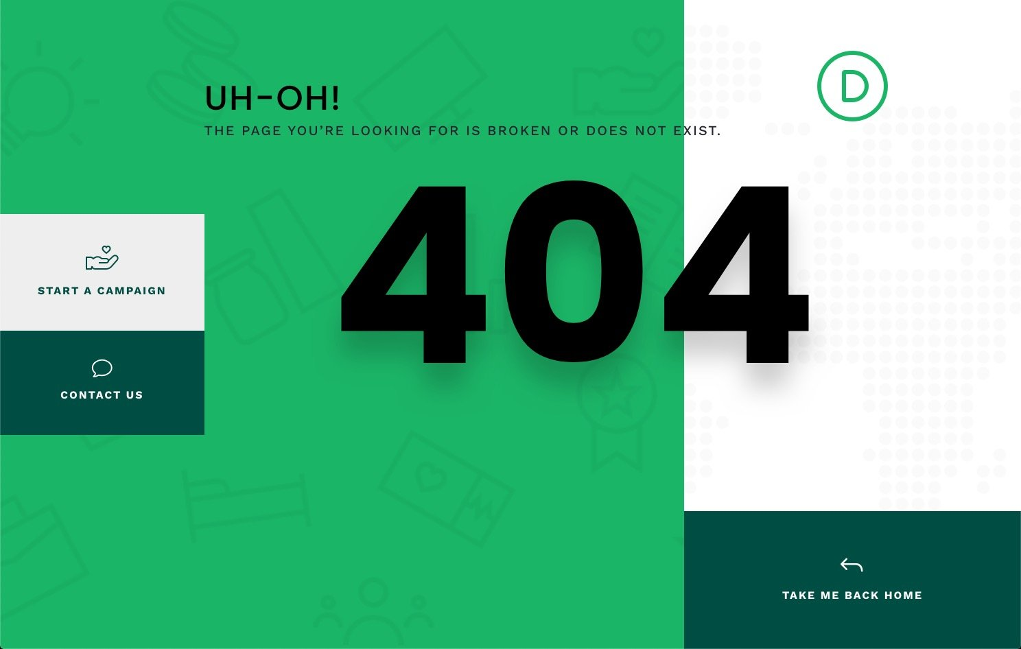 crowdfunding 404 page template