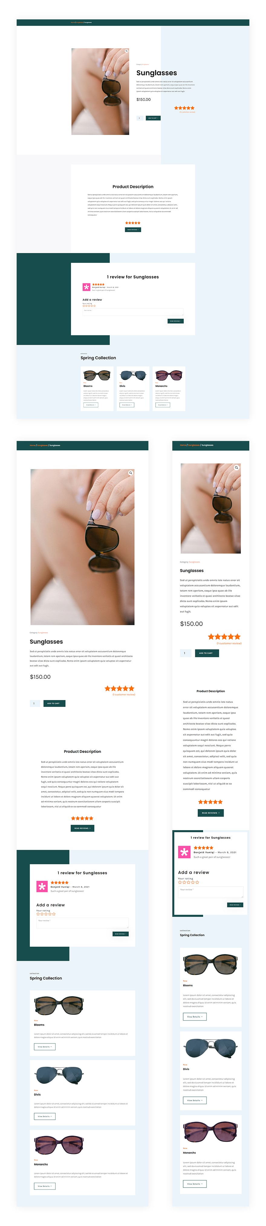sunglasses shop product page template