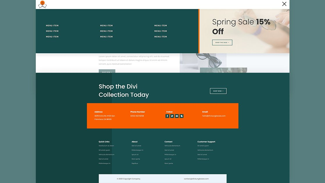 Download a FREE Header & Footer for Divi's Sunglasses Shop Layout Pack