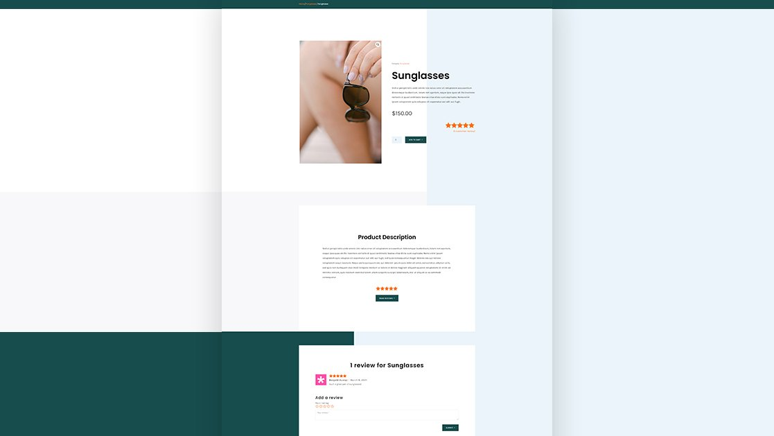 Download a FREE Product Page Template for Divi's Sunglasses Shop Layout Pack
