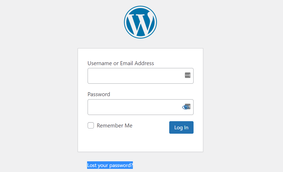 Recovering a lost WordPress password to fix WordPress login issues.