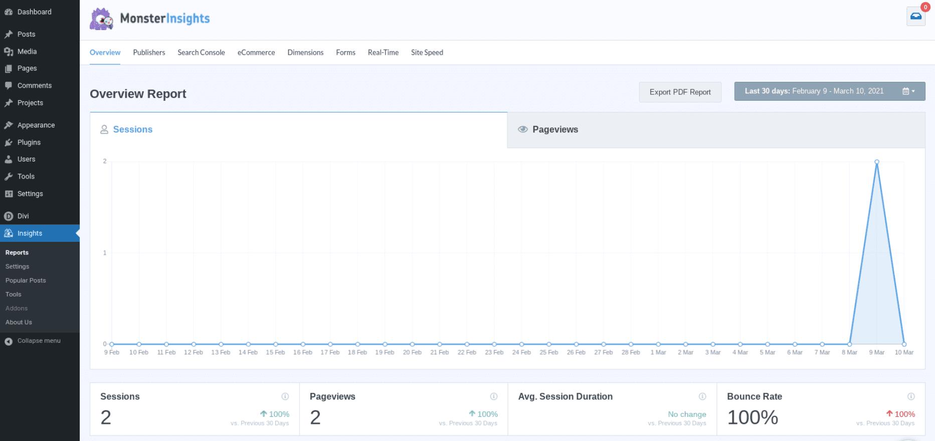 The MonsterInsights Google Analytics plugin dashboard.