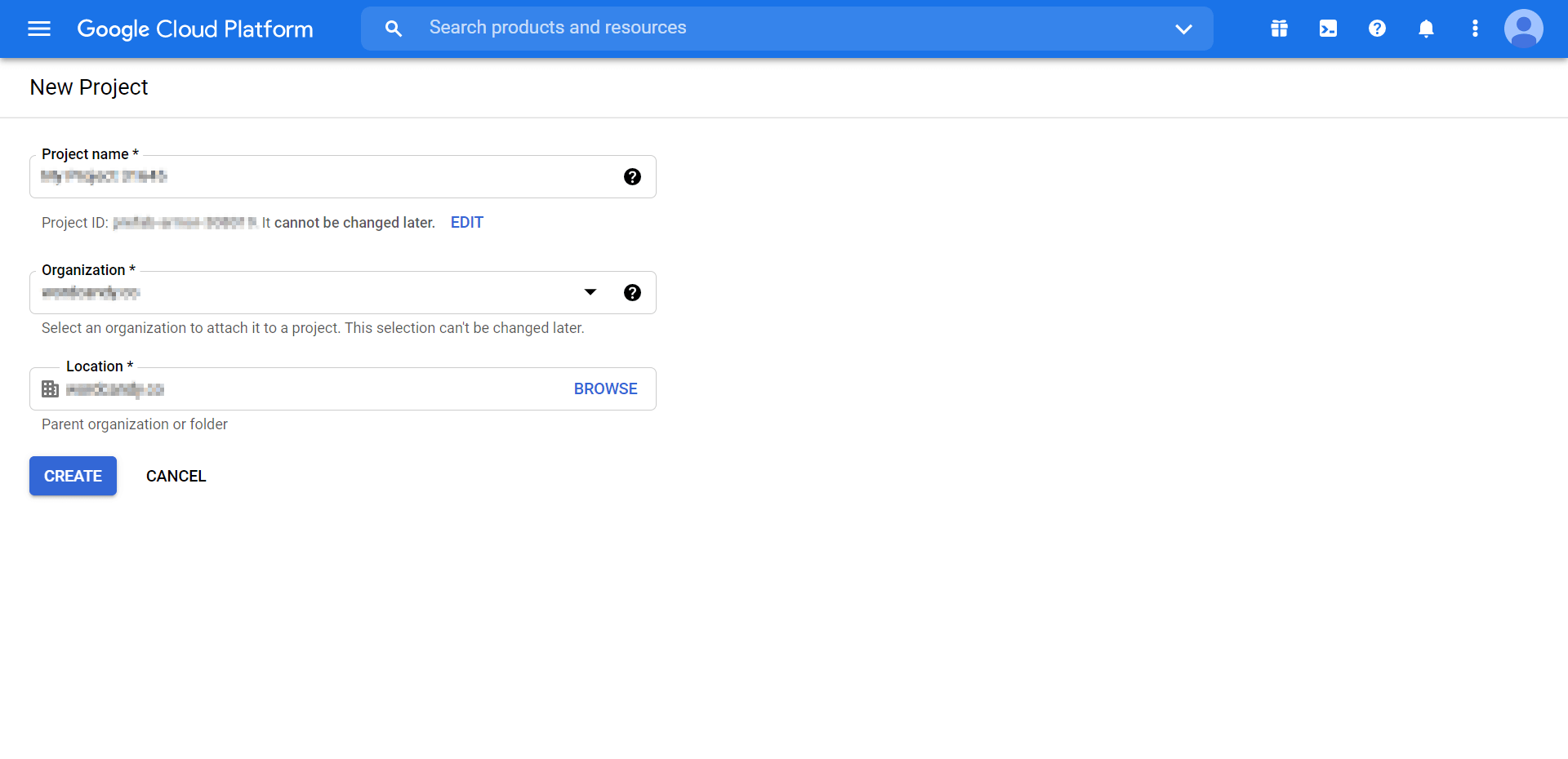 The 'new project creation' screen in Google Search Console.