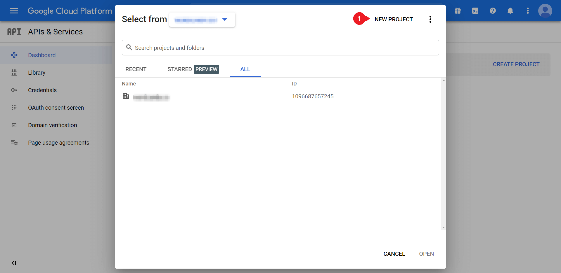 The 'next project' popup in Google, to set up WordPress Gmail login.