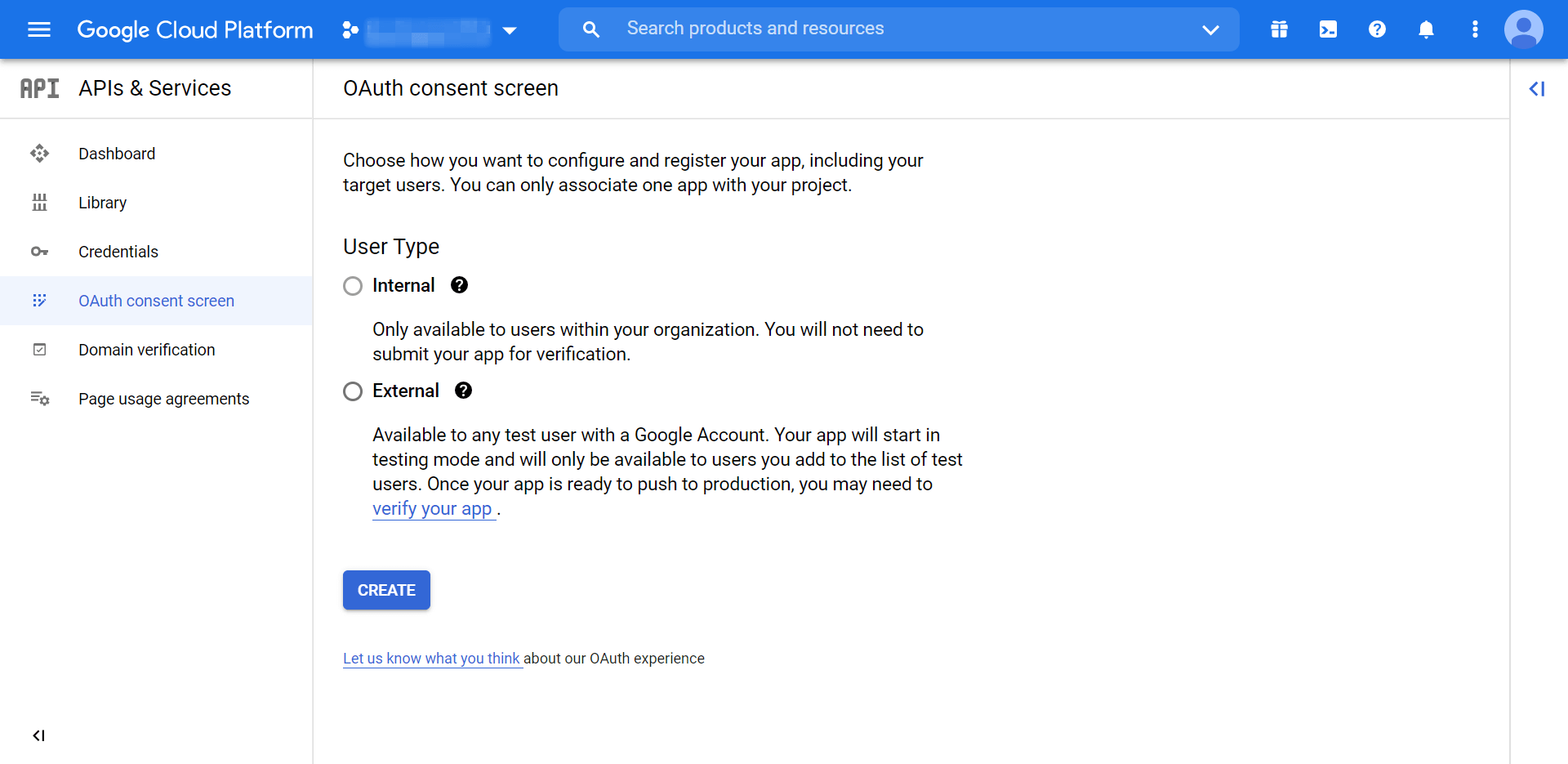 The first page of the OAuth Consent screen.