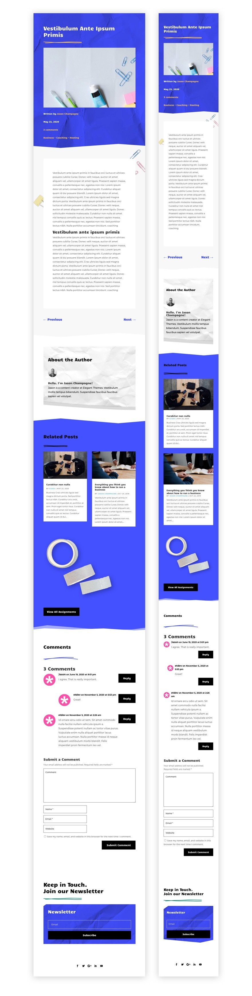 classroom blog post template