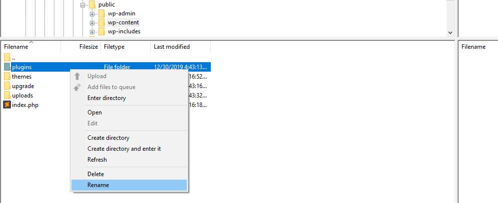 Renaming your plugins folder to resolve WordPress login issues.