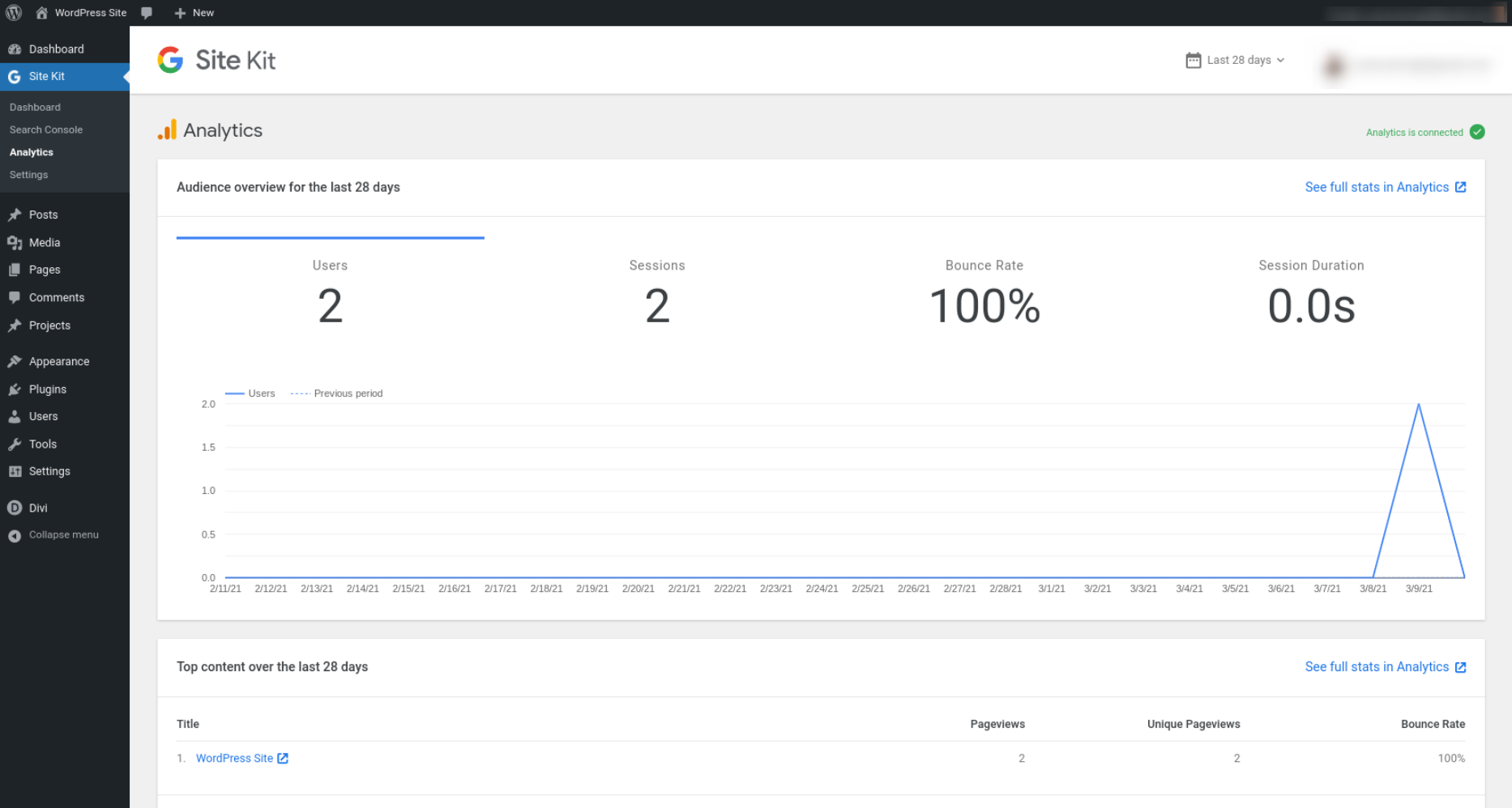 The Google Site Kit plugin's Analytics dashboard.