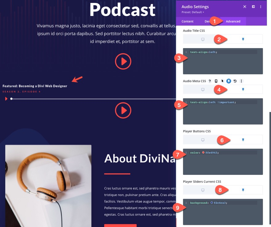 Barre de contenu audio Divi Sticky