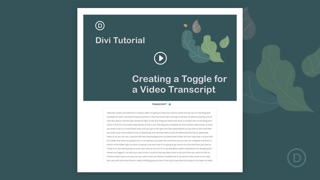 How to Create a Custom Toggle for Video Transcripts in Divi