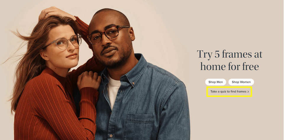 The Warby Parker style quiz.