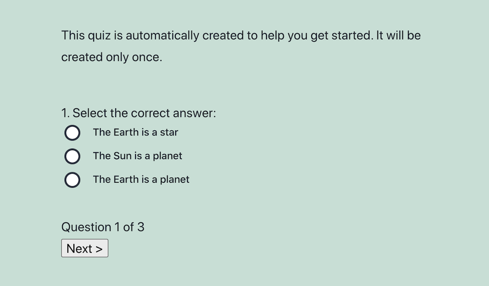 A quiz made with the Watu quiz plugin.