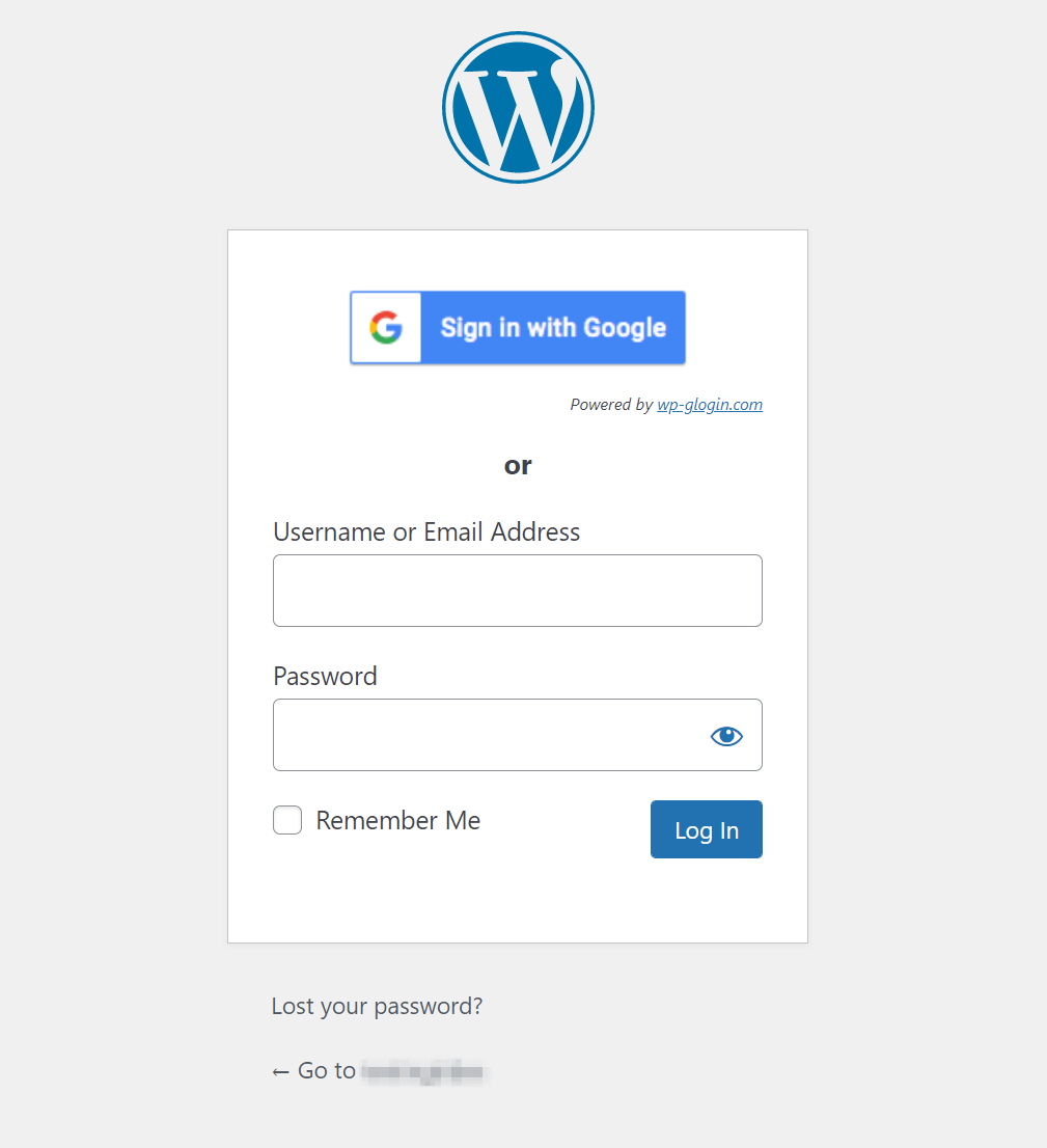 The WordPress Gmail login screen.