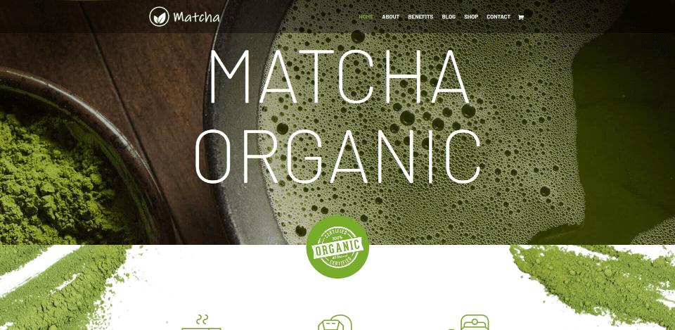 Divi Matcha Shop Child Theme Home Page