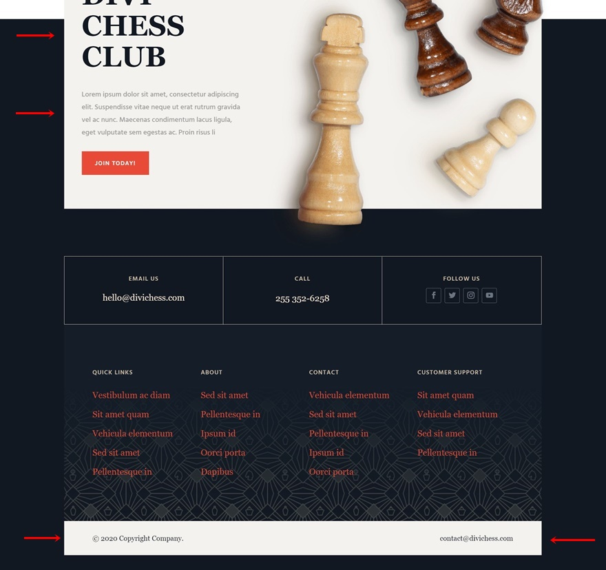 chess club header footer