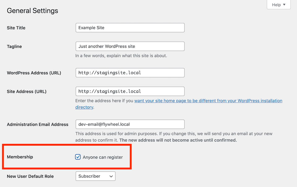 Allowing user registration on your WordPress site.
