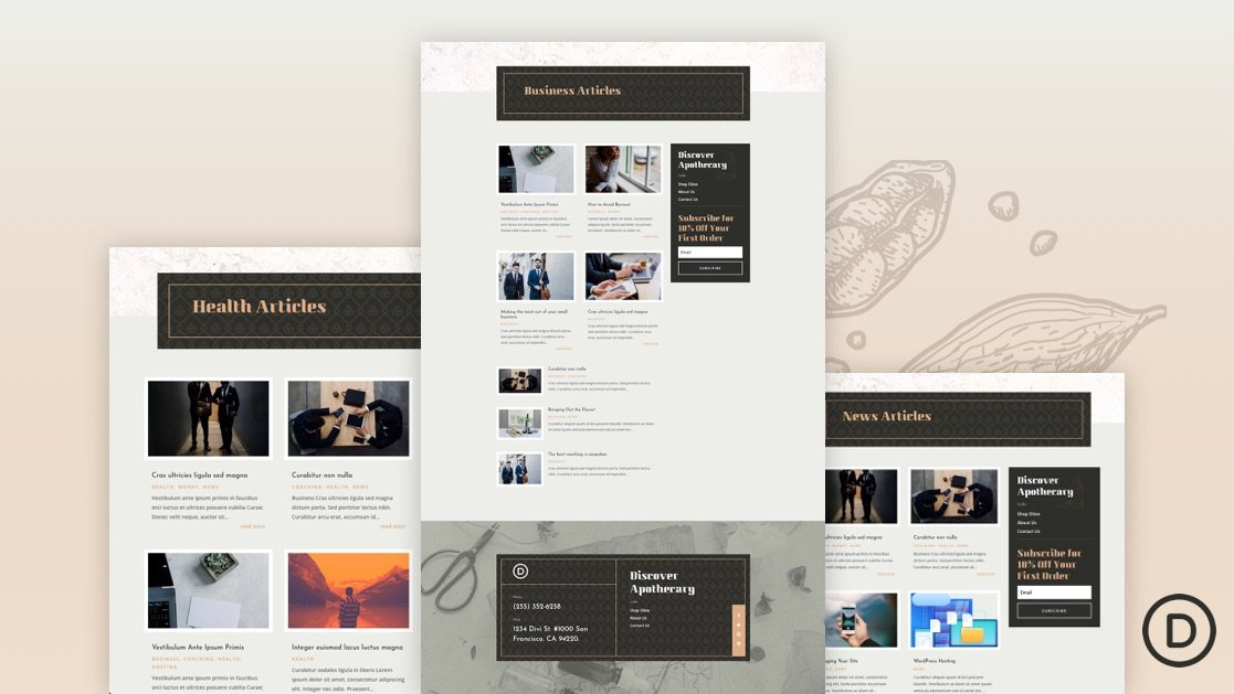 Download a FREE Category Page Template for Divi's Apothecary Layout Pack