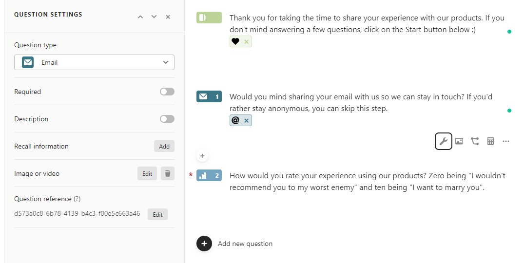 Editing a client feedback survey using Typefrom