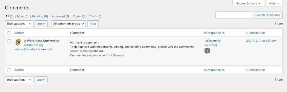 The WordPress comment moderation queue.