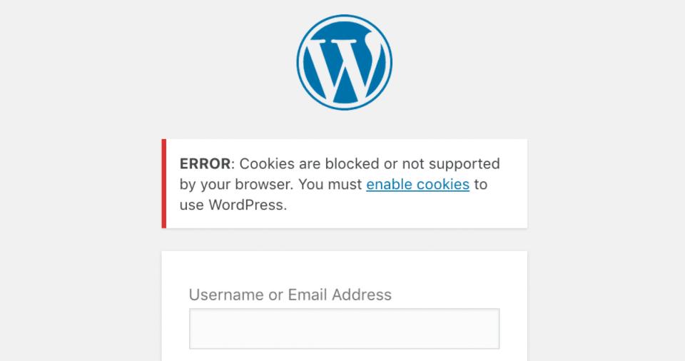 A WordPress login page cookie error.