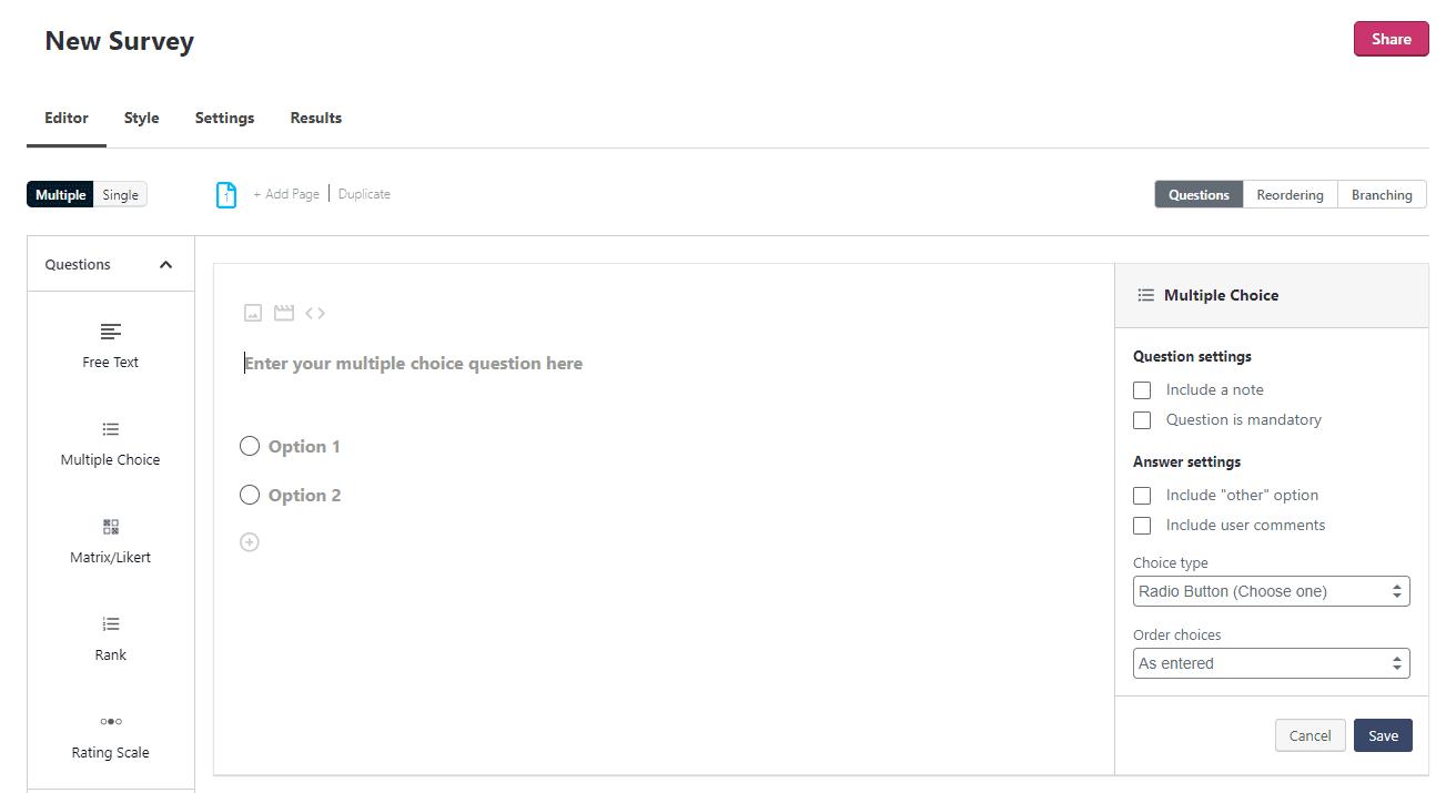 Creating a survey using Crowdsignal.