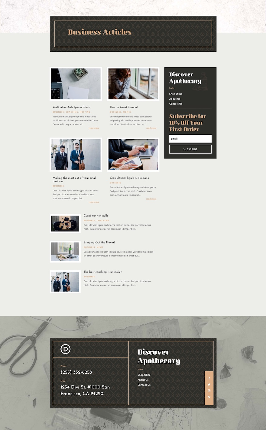 apothecary category page template