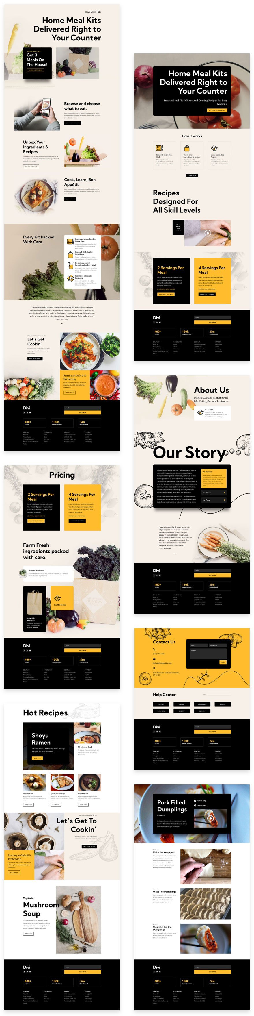 divi meal kit layout pack