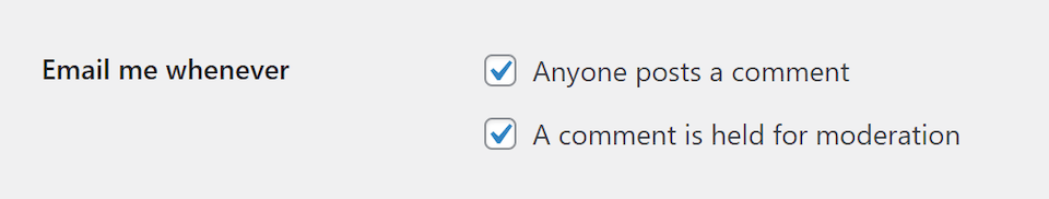 The email notification discussion settings in WordPress.