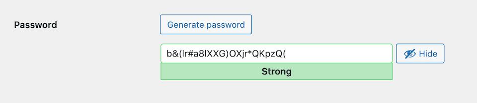 Generating a random complex password for a new WordPress user.