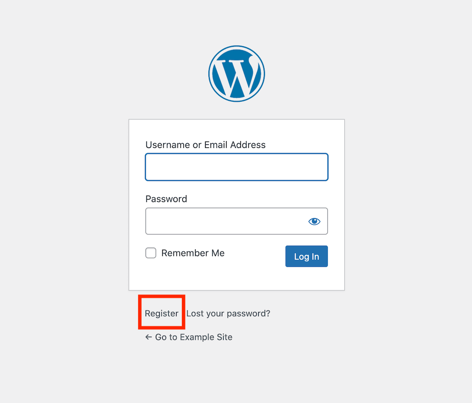WordPress user registration link.
