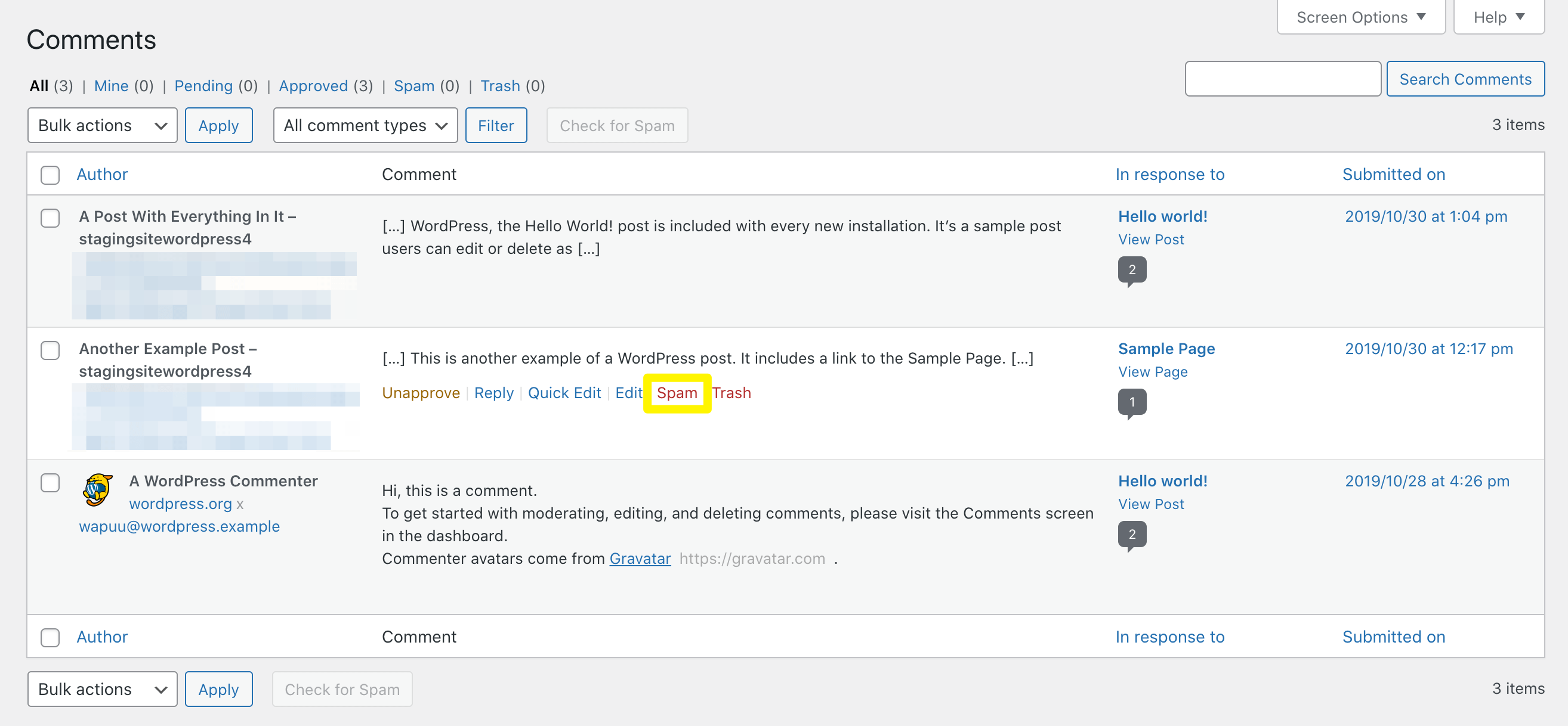 Marking a comment as spam in WordPress.