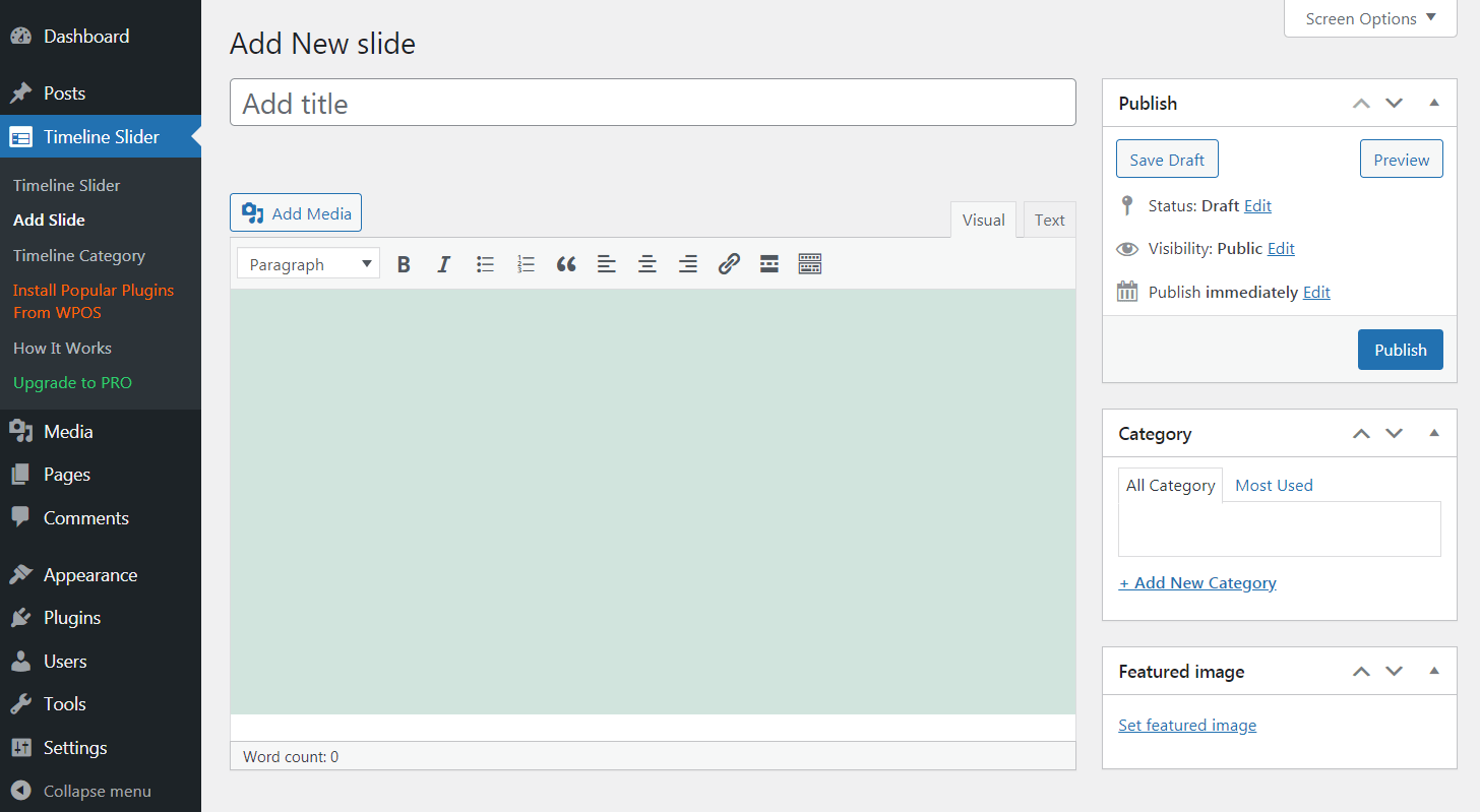 The Timeline and History Slider plugin in action.