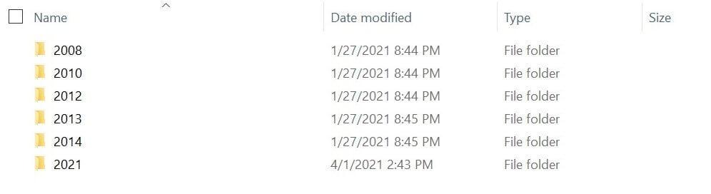 Media uploads organized into dated folders in the WordPress file system.