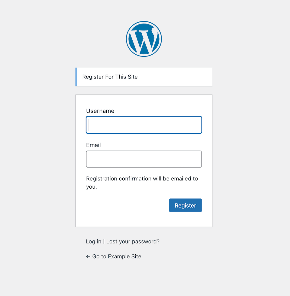 WordPress user registration form.