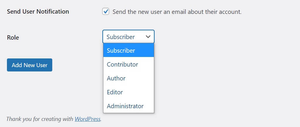 The new user role selection box in WordPress.