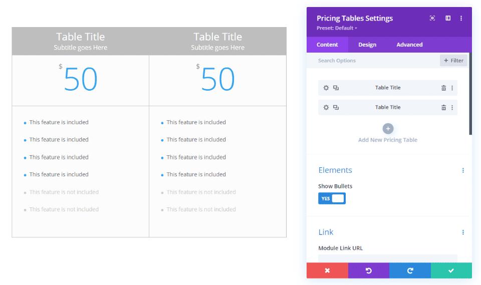 Divi Pricing Table Module