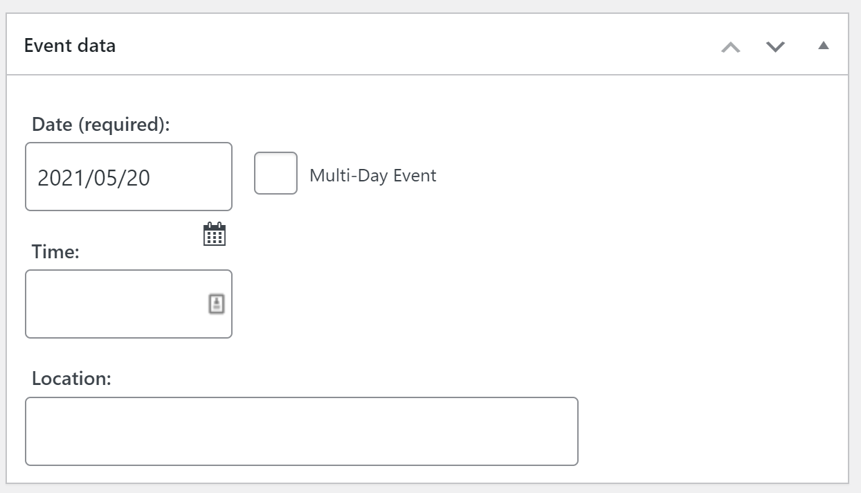 Adding event data using the Event List plugin