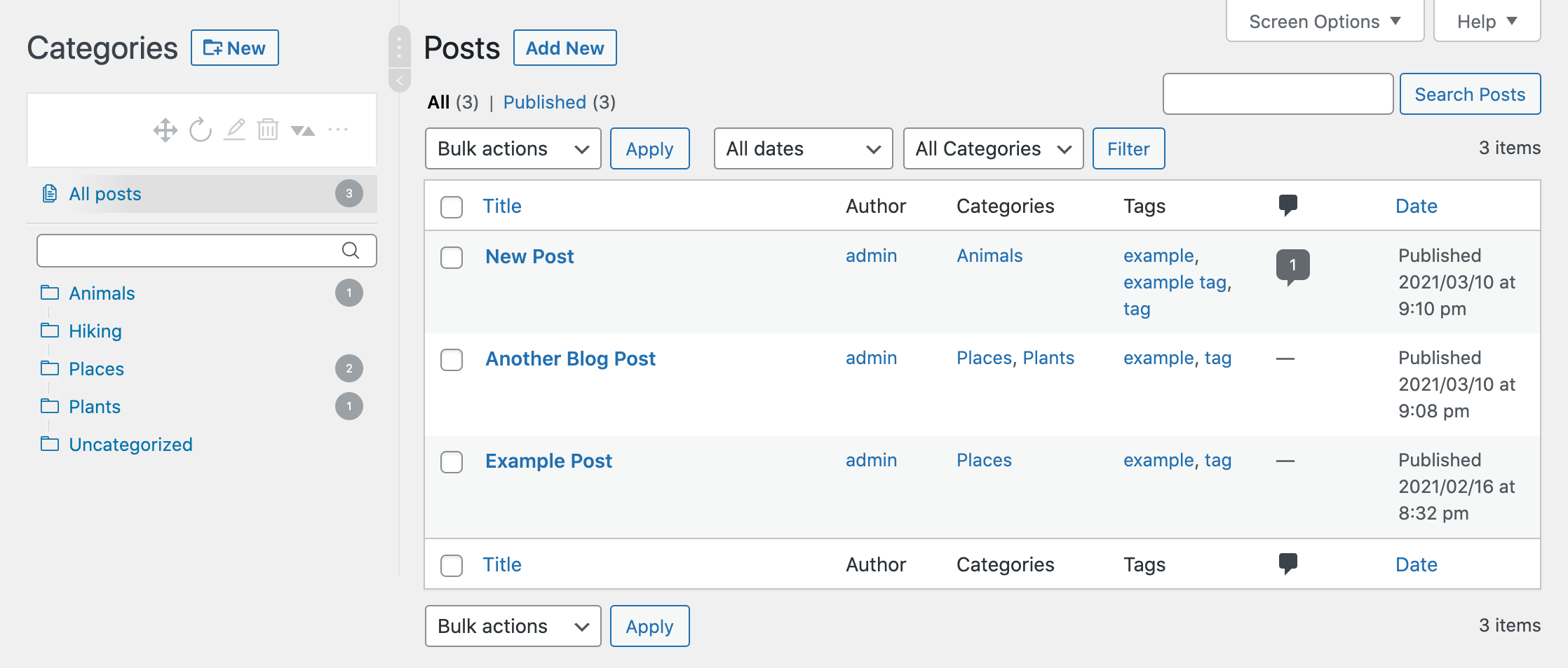 The WordPress Real Category Management file system.