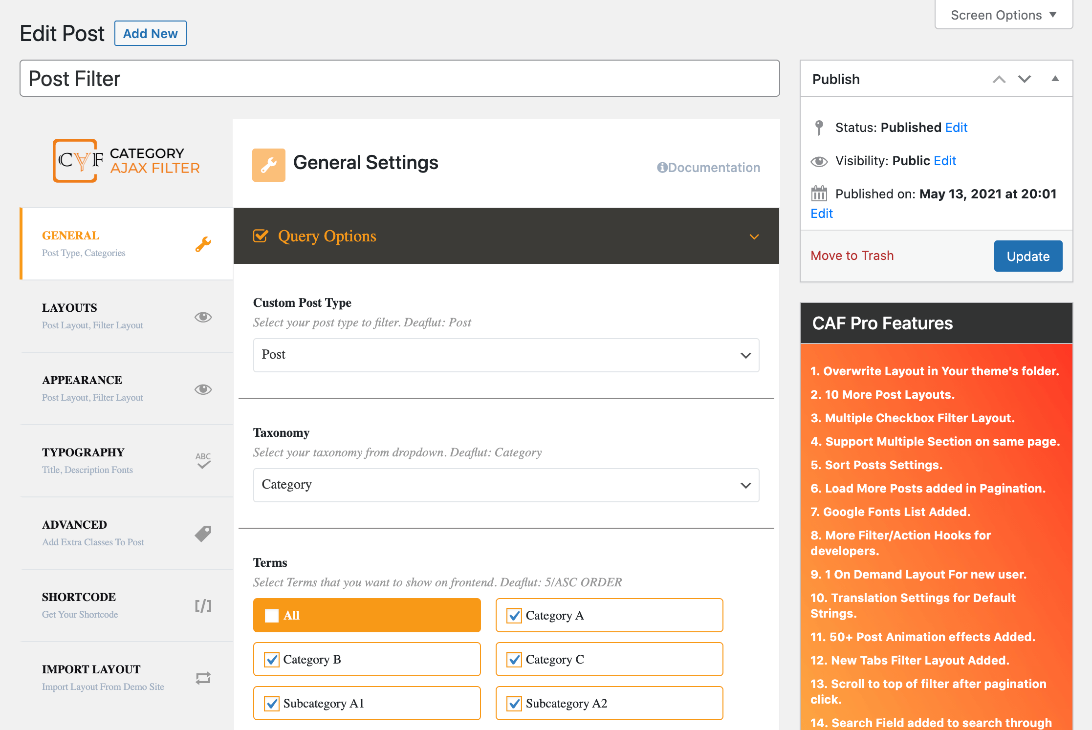 The Filter Posts by Category settings.