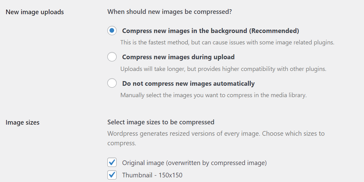 Selecting which type of image optimization to use