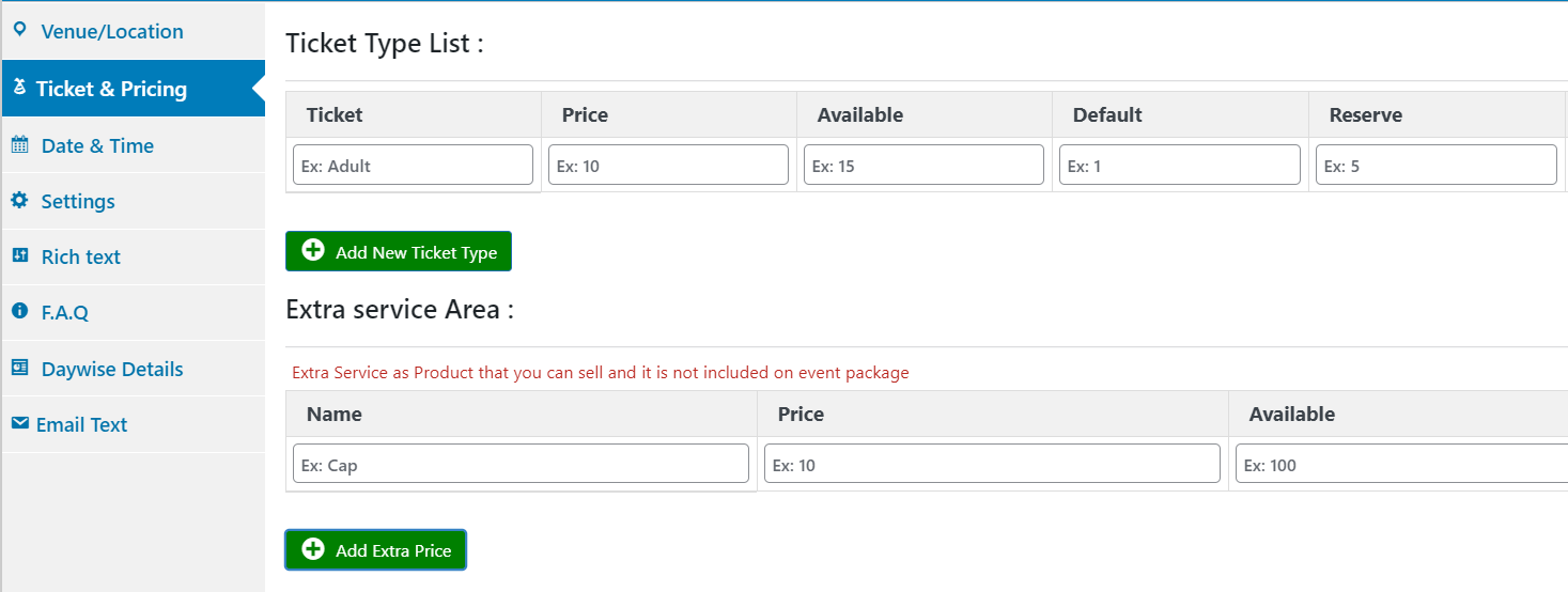 Configuring event tickets for sale