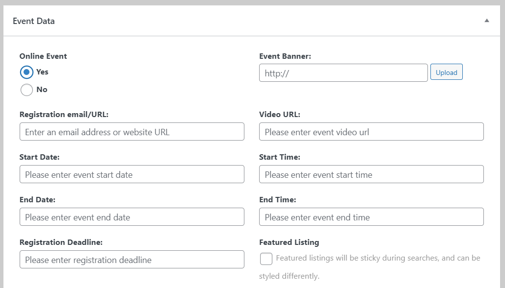 Enabling users to submit events for your calendar
