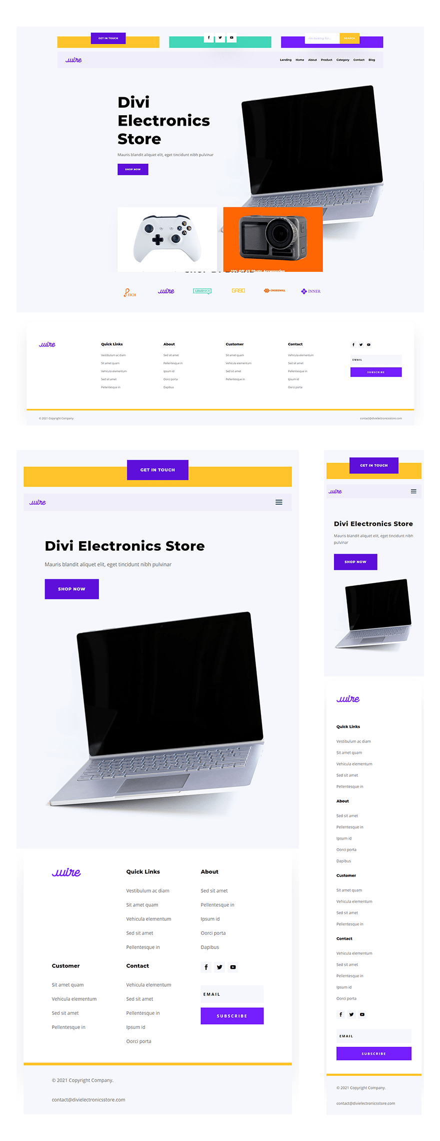 electronics store header footer