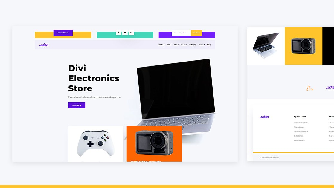 Download a FREE Header & Footer for Divi's Electronics Store Layout Pack